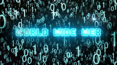 Bluish World Wide Web concept with digital code Stock Footage