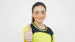 Girl with Spanish Flag Showing Thumb Up Stock Footage