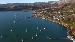 Aerial view of Akaroa on Banks Peninsula, New Zealand Stock Footage