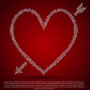 Red sequin background. I love you. Valentines Day. Stock Illustration