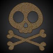 Vector gold skull. Pirate flag. Sequins object. Stock Illustration