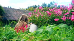 Cute little girl in pink sundress watering pink phlox against the background of Stock Footage