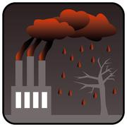 Factory generating toxic air pollution and Acid Rain Stock Illustration