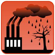 Factory generating toxic air pollution and Acid Rain Piirros