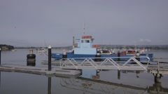 Small car ferry back out after loading Stock Footage