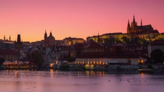 Evening in Prague on Vltava River. Time Lapse 4K Stock Footage