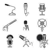 Different microphones types vector icons - stock illustration