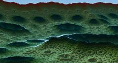 Moon surface or alien planet with craters 3d rendering - stock illustration