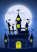 Spooky ghost castle with full moon in background Stock Illustration