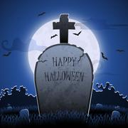 Old gravestone at night with happy halloween word in cemetery Stock Illustration
