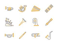 Simple line musical instruments vector icons set - stock illustration