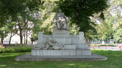The statue of Johann Brahms in Vienna Stock Footage