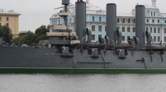 The cruiser Aurora after a renovation parking on the Petrograd embankment. Stock Footage