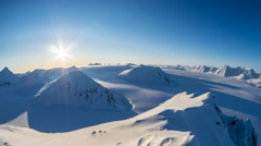 Midnight Sun doesn't set in the Arctic. Arctic sky, glaciers and mountains (4K) Stock Footage