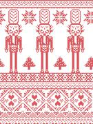 Christmas pattern with nutcracker Stock Illustration