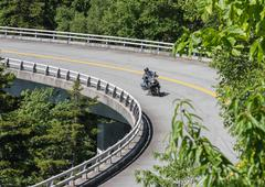 Motorcycle Takes a Bend on the Linn Cove Viaduct Stock Photos