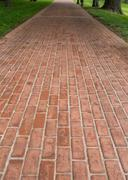 Long Red Brick Pathway Stock Photos
