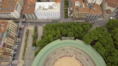 Overhead aerial shot of bullring stadium in Pamplona Stock Footage
