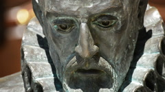 Face of writer spanish Miguel de Cervantes in a sculpture, Quixote author's. Stock Footage