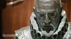 Portrait of writer spanish Miguel de Cervantes in a sculpture, Quixote author's. Stock Footage