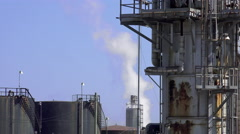 Steam being released in Refinery, Close-up Stock Footage