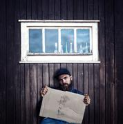 Vagrant with cardboard Stock Photos
