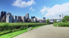 Manhattan Skyline and Queensboro Bridge as Seen from Roosevelt Island Stock Footage