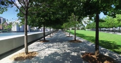 Dolly Walking Shot of Treelined Paths at Roosevelt Four Freedoms Park - stock footage