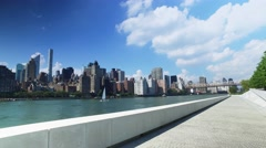 Manhattan Skyline Establishing Shot as Seen from Roosevelt Four Freedoms Park Stock Footage