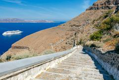 Fira. The cable car to the top. Stock Photos