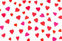 Many pink and red hearts carved from paper Stock Photos