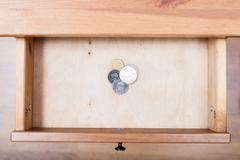 Few Swedish krona coins in open drawer Stock Photos