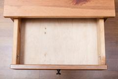 Top view of empty open drawer Stock Photos