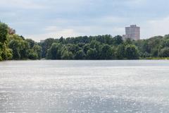 Summer heavy rain on city pond Kuvituskuvat
