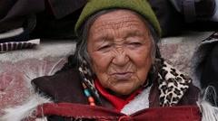 Tibetan old women in Buddhist festival at Lamayuru Gompa, Ladakh, North India Stock Footage