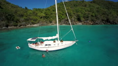 Group of people relaxing on a sailboat in St John, United States Virgin Islands Stock Footage