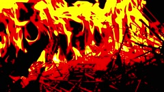 Flame Devours Dry Branches in the Darkness Close up Stock Footage