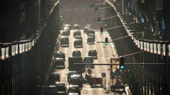 Busy street traffic Brussels cars commute sunny day golden hour commercial Stock Footage