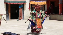 Tibetan lamas dancing in Buddhist festival at Lamayuru Gompa, Ladakh, India Stock Footage