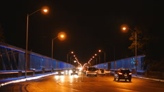 Bloor Street Viaduct with traffic at night. Toronto, Canada. Stock Footage