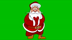 Cartoon Santa Claus claps his hands and talks on green background Stock Footage