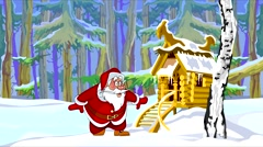 Cartoon Santa Claus jumping happily in the winter forest with a hut Stock Footage