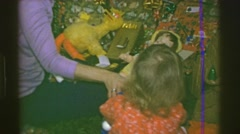 1969: Christmas gift Bert Big Bird Oscar the grouch plush toy dolls. AMES, IOWA Stock Footage