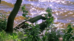 Submerged boat on the shore Stock Footage