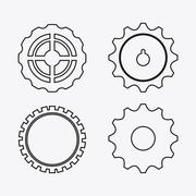 Gear white cog machine part set design Stock Illustration