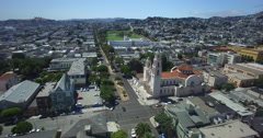 Aerial from Mission Dolores Church to Mission Dolores park Stock Footage