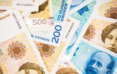 Krone Banknotes Closeup Photo. Norwegian Krone Currency. - stock photo
