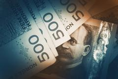 Norwegian Krone Banknotes Closeup Photo. Norwegian Currency Concept. - stock photo