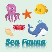 Sea Fauna graphic design, vector illustration Stock Illustration