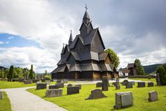 Heddal medieval wooden stave church in Telemark Norway Stock Photos